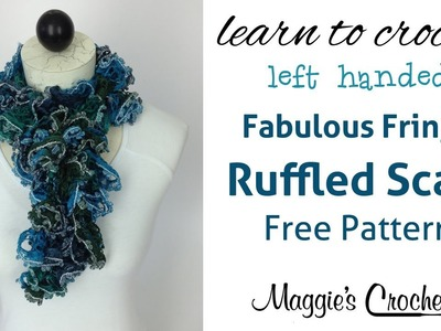 Crochet Ruffled Scarf with Mary Maxim Fabulous Fringe Yarn - Left Handed