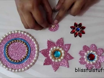 DIY - Floating kundan diya rangoli and floating kundan flowers, How to make floating rangoli