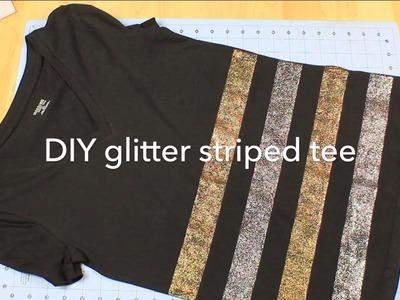 DIY Glitter Striped Tee Shirt