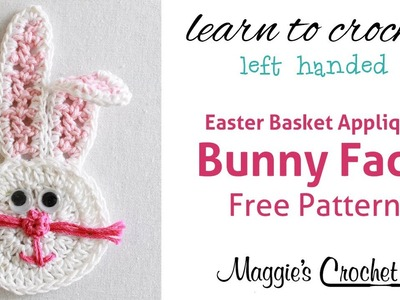Easter Bunny Face Applique Free Crochet Pattern - Left Handed
