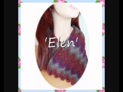 Elen Unisex Chevron long scarf 4ply sock yarn Knitting Pattern