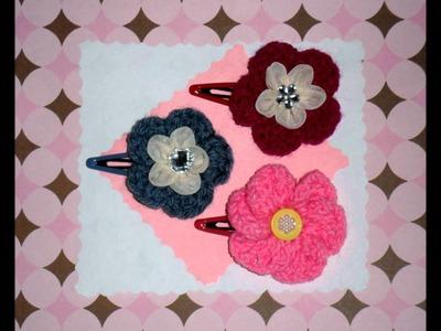 Flower hair clip. crochet flower