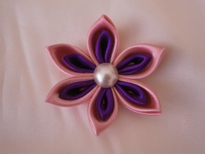 Kanzashi flower tutorial, How to,DIY ribbon flowers,kanzashi flores de cinta