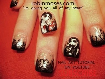 Nail Art Tutorial | I Give you my Heart Nails | Gothic Valentine Nail Art Design