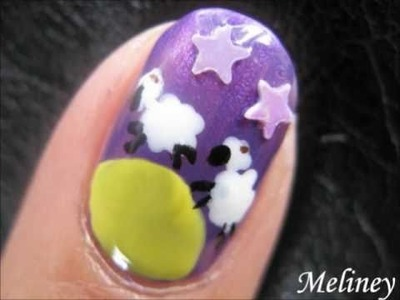 ANIMAL NAIL ART DESIGN | SLEEPLESS NIGHTS COUNTING SHEEP STAR NAILS CUTE TUTORIAL SHORT NAILS DIY