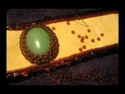Bead embroidery: jade&aventurine bracelet