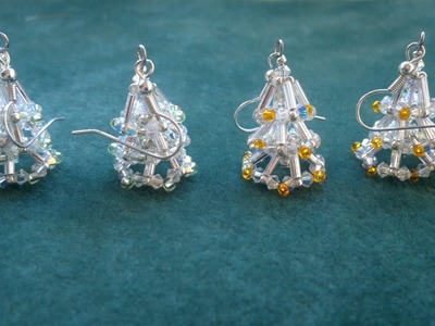 Beading4perfectionists : Christmas tree earring (video version) beginning beaders tutorial