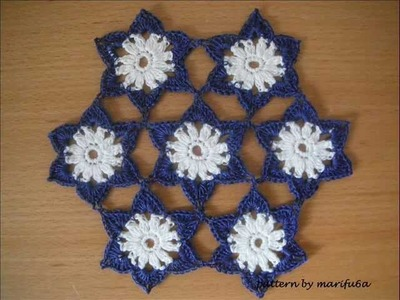 Crochet pattern flowers motif doily tutorial