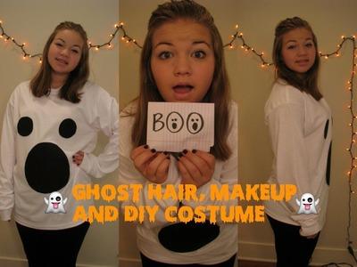 Cute Ghost DIY Halloween Costume, Hair, and Makeup