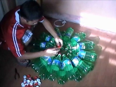 How to build christmas lantern from recycled bottles.
