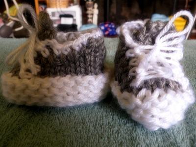 How to Loom Knit Tennis Shoe Booties (long loom)