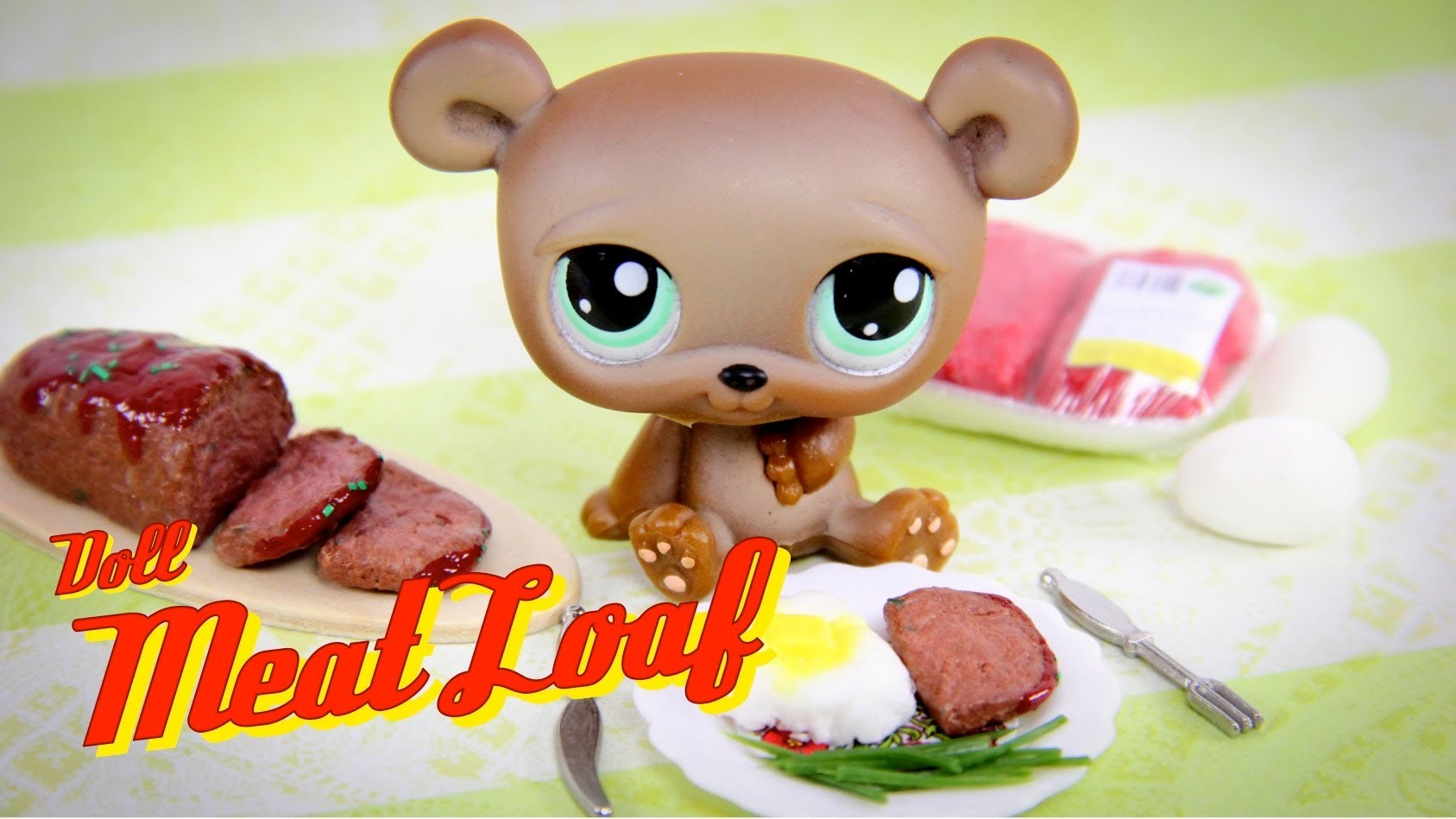 How to Make Doll Food: Meatloaf | Ground Beef | Mashed Potatoes - Doll Crafts