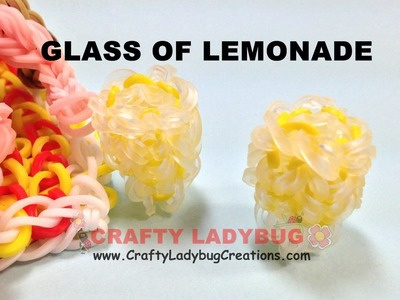 Rainbow Loom Band 3D GLASS LEMONADE-BEACH SERIES EASY Charm Tutorials.How to Make by Crafty Ladybug