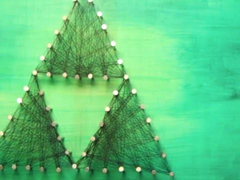 Zelda Triforce Nail Thread Art DIY - Geeky Goodies