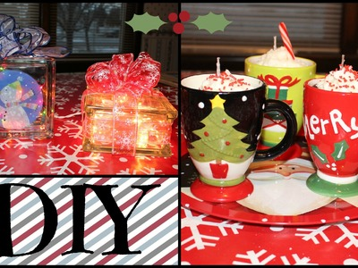 2 DIY Christmas Gifts! [Collab with SimplyBeautyChic1] Hot Cocoa Candles & Lighted Glass Blocks