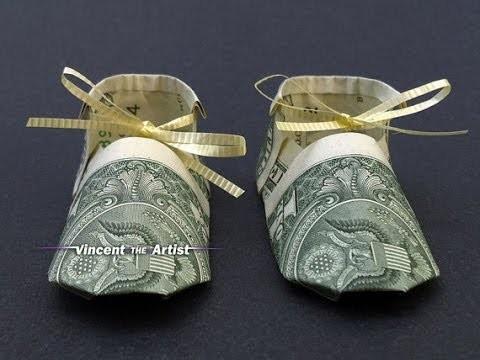 Baby Booties Shoe - Money Origami Diagram