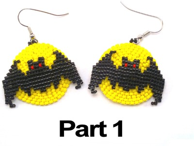 Beading4perfectionists : Halloween Full Moon Bat earrings beading tutorial #1
