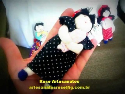 Crafts: doll made from scraps of fabric and recyclable materials
