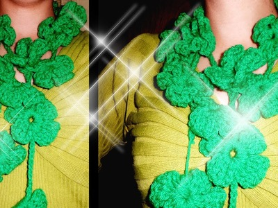 Crochet Green Shamrock Flowers Lariat Scarf Tutorial