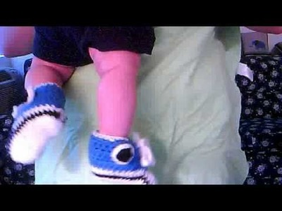 Crocheted baby high top booties