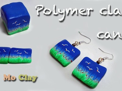 Diy, how to make landscape cane - polymer clay earrings tutorial