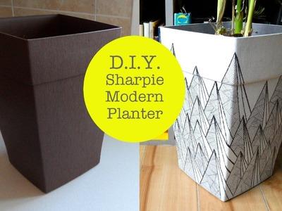 DIY Sharpie Modern Graphic Pattern Planter #1
