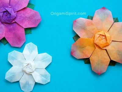 Origami Flower -Snowflake:: Flor de seis pétalos