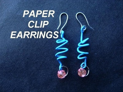 PAPER CLIP EARRINGS,  Blue plastic spiral paper clip earrings, how to diy, re-purpose project