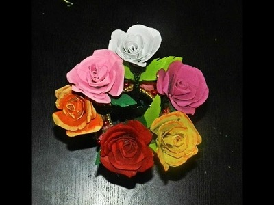 Recycled DIY: Rose flowers made with tissue paper rolls