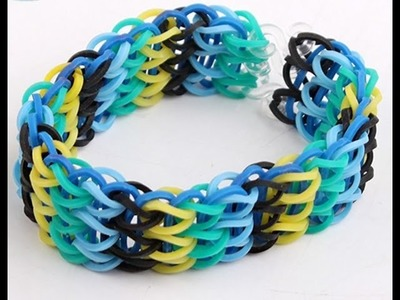 Tutorial Pulsera de Gomitas Triple (en telar): How to make the rainbow loom:Triple singe