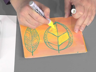 405-1 Julie Fei-Fan Balzer creates an art journal page of doodled leaves on Scrapbook Soup