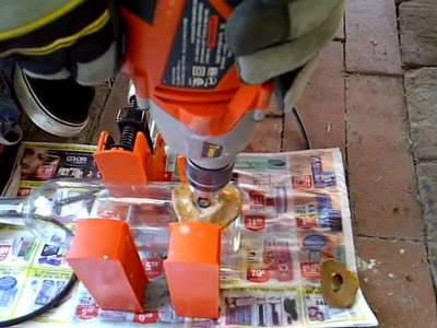DIY Drilling a hole into a recycled wine bottle.