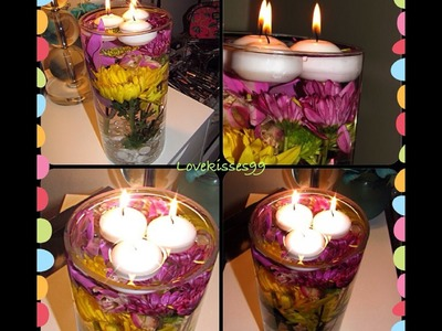 DIY: Flower Centerpiece with Floating Tea Lights
