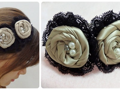 Diy flower headband, fabric rosettes tutorial,satin rose headband