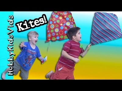 Homemade Kites! Can HobbyKids Fly New DIY Kites? Arts and Crafts by HobbyKidVids