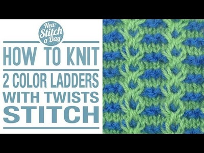 How to Knit the 2 Color Ladders with Twists Stitch (English Style)