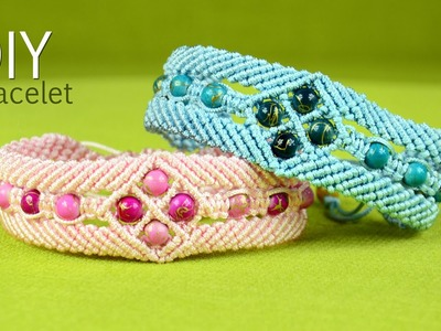 Make a Macramé Bracelet with Diamonds and Beads - Tutorial