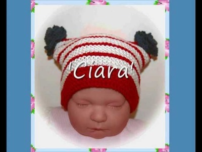Ciara Patriotic Multisize Baby or Reborn Doll hat Aran and DK Yarn Knitting Pattern