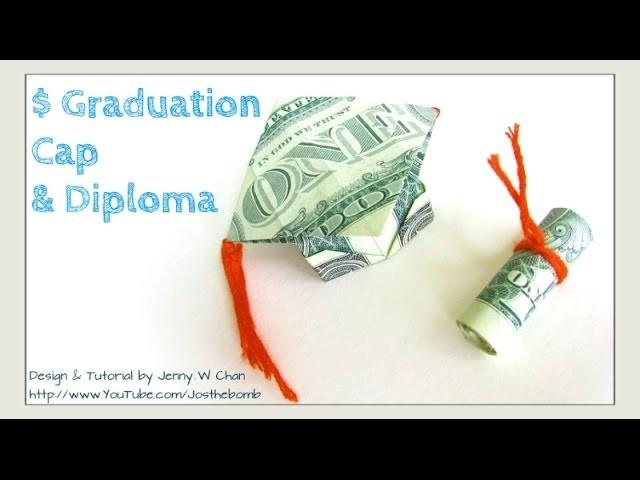 DIY How to Fold $2 Money Origami Graduation Cap & Diploma - Dollar Origami - Graduation Gift Idea