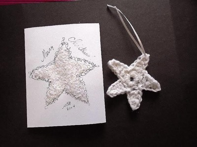 How to CROCHET a STAR AND make a CHRISTMAS CARD - Cardmaking - Christmas card, Christmas ornament