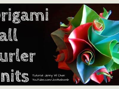 How to Fold Origami Ball - 12 Curler Units Flower Cuboctahedron - Kususama - DIY Gift Idea