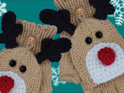 RUDOLPH FINGERLESS GLOVES WITH FLAPS - Knit the perfect Christmas Gift!