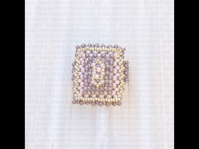 BeadsFriends: Right Angle Weave Ring made with pink, lilac and silver beads (RAW) | Beaded Jewelry