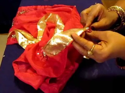 DIY: HOW TO SEW TRIM. LACE ON A SILK SAREE.