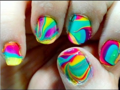 Tie Dye Your Nails! (water marbling) ♡ Theeasydiy #Nailart