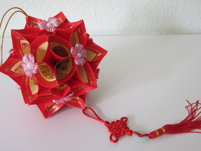 TUTORIAL -How to make a Decorative Flower Ball using Ang Pow Paper (Red Packet)