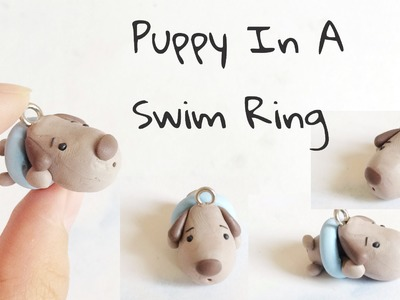 Beach Series : Polymer Clay Puppy In A Swim Ring