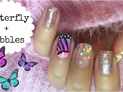 Butterfly and Bubbles!!! Mix N Match Nail Art with SaraBeautyCorner!