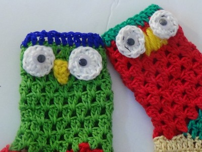 Crochet owl christmas stocking-3