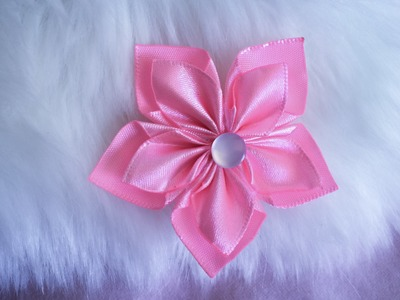 DIY: How to make Kanzashi ribbon flower like a snow flake.